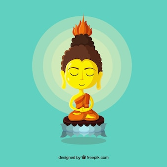 Golden budha avec un design plat