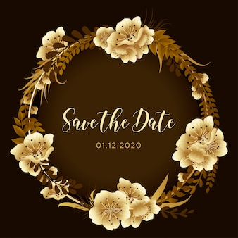 Golden cherry blossom save the date floral background, orchid flowers invite, spring festival