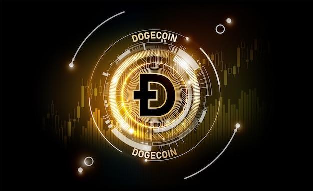Golden dogecoin monnaie numérique argent numérique futuriste graphique financier doge dogecoin fond.