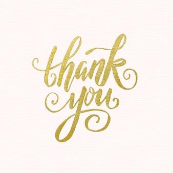 Golden lettrage de remerciement