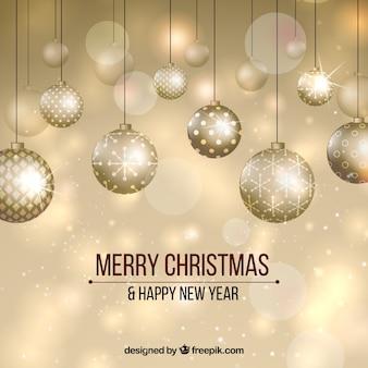 Golden New Year background avec des boules élégantes