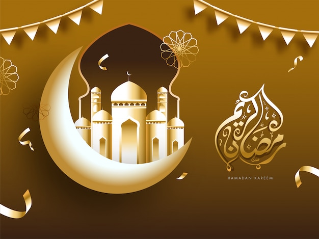 Golden ramadan kareem calligraphy in arabic language with glossy crescent moon, mosque and bunting flags on brown background.