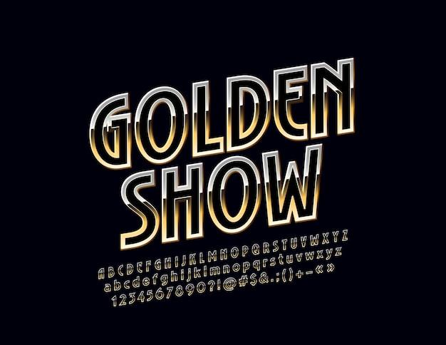 Golden show rotated police exclusive lettres de l'alphabet élégant chiffres et symboles