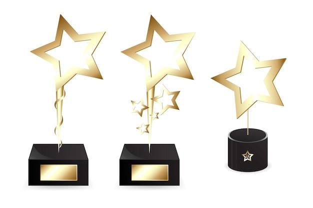 Golden star shapes awards, isolé sur blanc