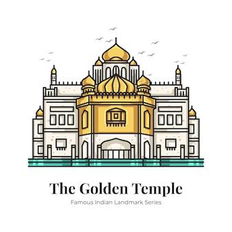 Golden temple indian landmark iconic cartoon illustration