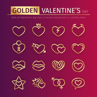 Golden valentines day icons set