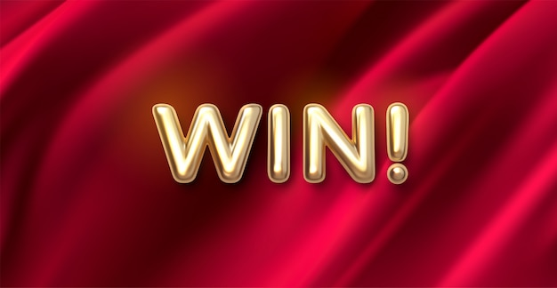 Golden win! signe sur fond de tissu rouge. concept de compétition ou de jeu. lettres réalistes or sur textile drapé.