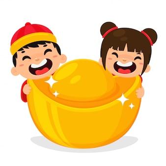 Golden yuan bao monnaie de la chine symbole de la richesse financière pour la décoration pendant le nouvel an chinois.