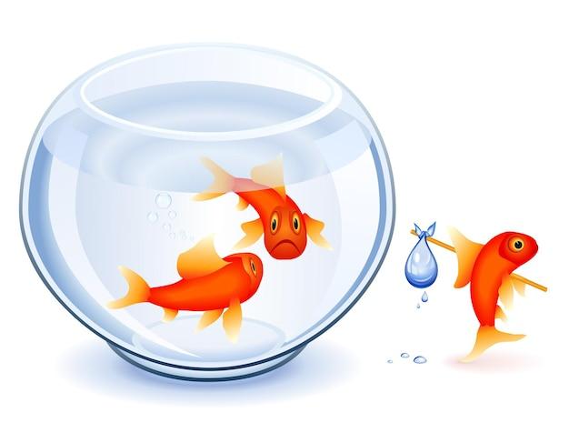 Goldfish se déplaçant de son bocal avec bundle