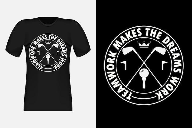 Golf avec conception de t-shirt vintage de style typographique