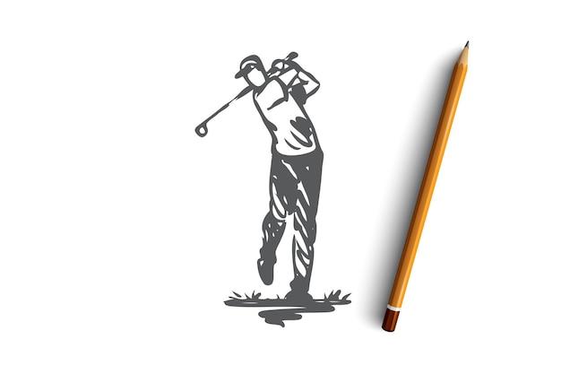 Golf, entraînement, détente, passe-temps, concept sportif. homme dessiné à la main relaxant en jouant au golf croquis de concept. illustration.