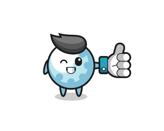 Golf mignon avec symbole de pouce levé sur les médias sociaux, design de style mignon pour t-shirt, autocollant, élément de logo