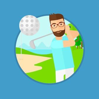 Golfeur frapper la balle.