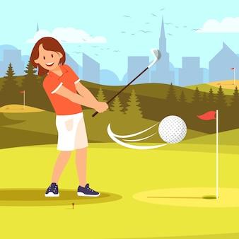 Golfeuse pratiquant le parcours de golf.
