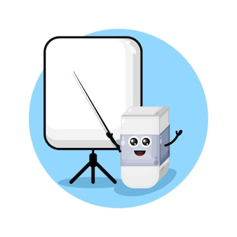 La gomme devient un logo de personnage de mascotte d'enseignant