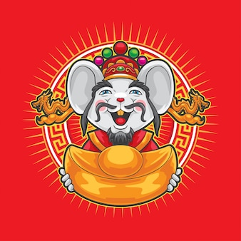 Gong xi fa cai mouse tenant une grosse monnaie d'or.