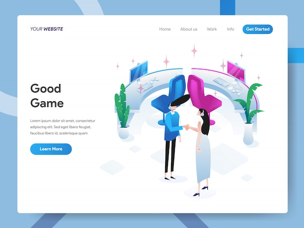 Good game isometric illustration pour la page du site web