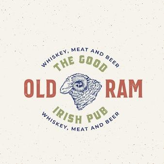Good old ram irish pub abstract vector signe, symbole ou modèle de logo.