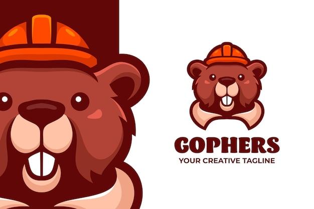 Gophers portent un modèle de logo de personnage de mascotte de casque de sécurité