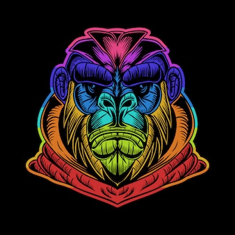 Gorilla hoodie illustration colorée