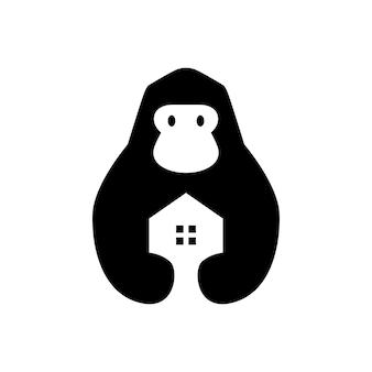 Gorilla house home immobilier hypothèque espace négatif logo vector icon illustration