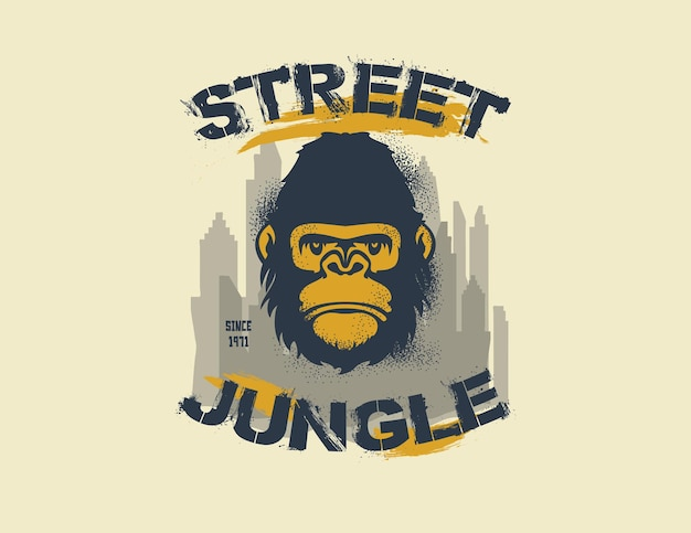 Gorilla king of the street. jungle de rue. illustration