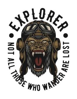 Gorilla porte un casque d'explorateur facile à changer de texte et prêt à répondre à tous les besoins