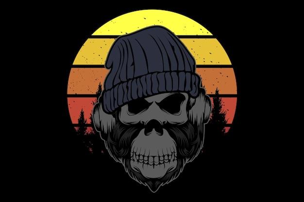 Gorilla porte un design d'illustration de casque