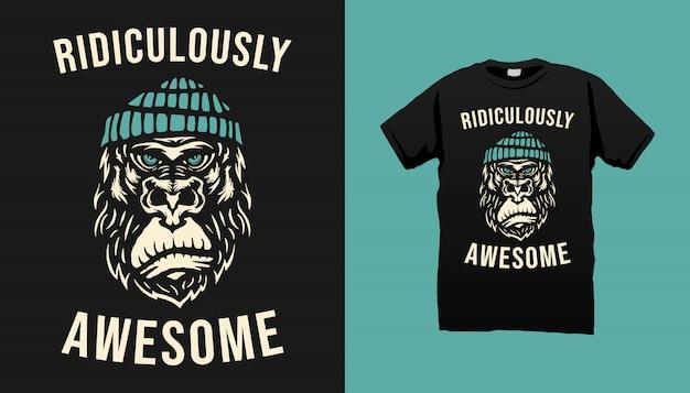 Gorilla Tshirt Design Vecteur Premium