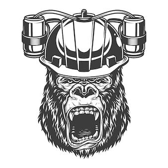 Gorille en colère dans le style monochrome