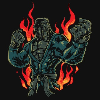 Gorille de combattant de jiu-jitsu en colère