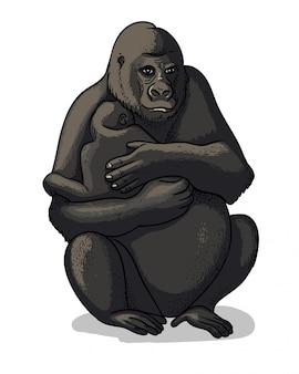 Gorille femelle africaine avec bébé-gorille assis isolé en style cartoon.