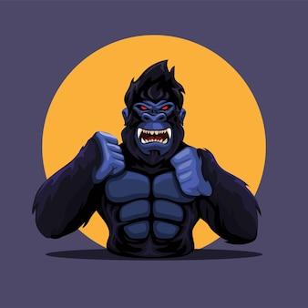 Gorille singe colère figure portrait mascotte personnage illustration vecteur