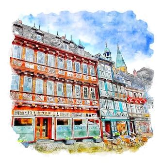 Goslar allemagne aquarelle croquis dessinés à la main illustration