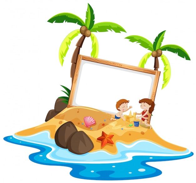 Gosses, jouer, plage