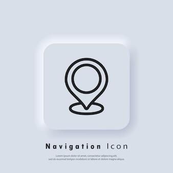 Goupille de localisation, point de stockage. stratégie de campagne de marketing local e-commerce. localisation gps. icône de broche de carte. vecteur eps 10. icône de l'interface utilisateur. bouton web de l'interface utilisateur blanc neumorphic ui ux. neumorphisme