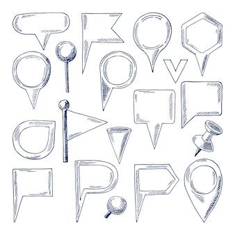 Goupilles de navigation dessinés à la main isoler sur blanc. pointeurs de carte vectorielle