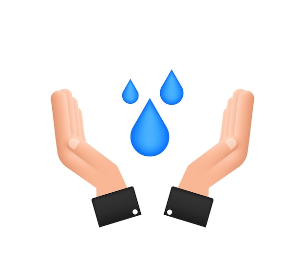 Goutte d'eau dessinée à la main dans les mains pour la conception de bannières. planète terre. économisez l'eau de la terre.