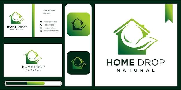 Goutte d'eau de feuille et élément de conception de logo de maison d'aqua
