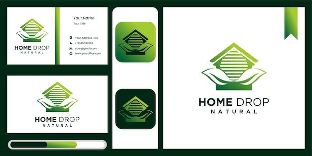 Goutte d'eau de feuille et symbole de maison d'élément de conception de logo de maison aqua