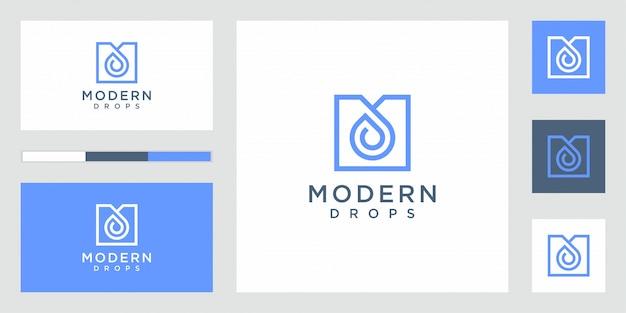 Goutte d'eau logo design vecteur forme infinie linéaire
