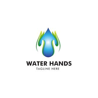 Goutte d'eau et logo des mains