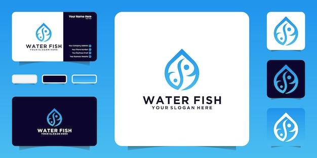 Goutte d'eau avec logo de poisson spatial négatif et conception de carte de visite