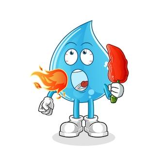 Goutte d'eau mange la mascotte de piment chaud