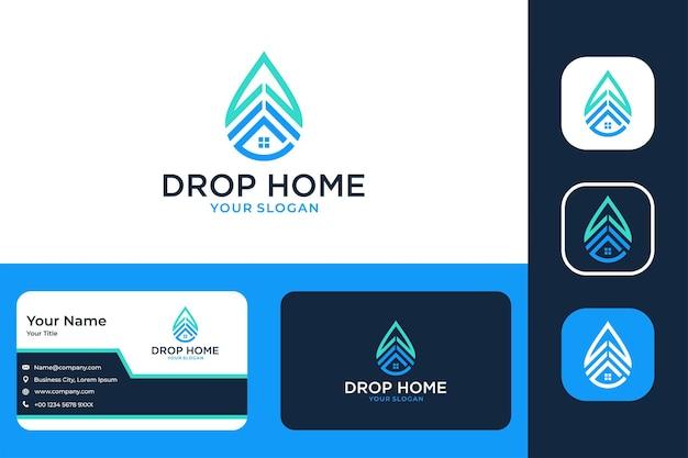 Goutte d'eau moderne avec création de logo de bâtiment et carte de visite