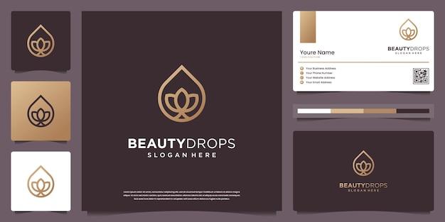 Goutte d'eau d'or de beauté et conception de logo d'art de ligne de feuille minimale blanche d'huile d'olive et de carte de visite
