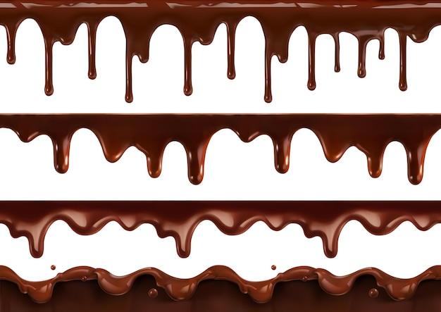 Goutte à goutte de chocolat fondu. modèle sans couture réaliste de vecteur 3d