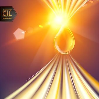 Goutte d'huile aux rayons du soleil.