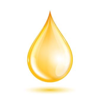 Goutte d'huile sur fond blanc.