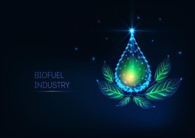 Goutte d'huile liquide polygonale basse rougeoyante futuriste et feuilles vertes sur fond bleu foncé.